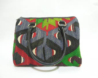 Women's handbag handmade from Turkish kilim rug
