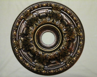 "Check this out!!  A Beautiful Tuscan look hand painted ceiling medallion 19"" in bronze copper gold"
