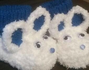 blue woolen baby White Rabbit slippers