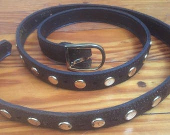 Vintage, 70s, Brown suede, Gold Studded belt, 70