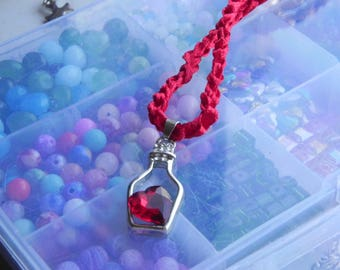 silver plated heart in a bottle choker & pendant, crystal heart, satin ribon crocheted chain, various colours available