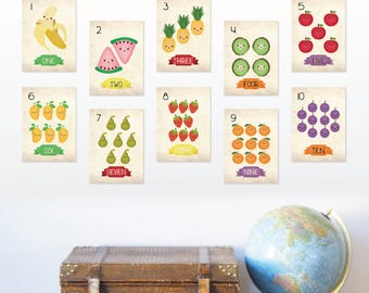 123 Counting Flash Cards, Fruits Wall Cards, Nursery Numbers Prints for baby, Playroom Decor, ABC, Baby Room Decor Educational art