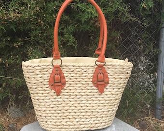 Large Woven Straw Tote/ Shoulder Summer Bag