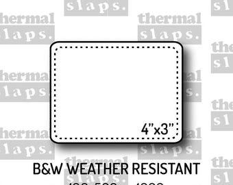 4x3 B&W  Polypropylene Stickers