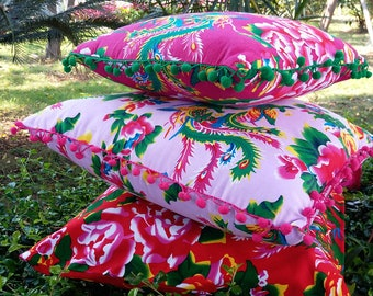 Peonies floral printed pillow cover - Simple or pompons decorated pillow