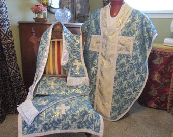 Blue Chasuble.  St. Phillip Neri Style.  5 piece set includes stole, chalice veil, maniple, and burse.