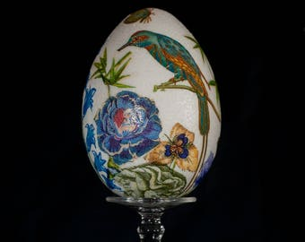 China Bird, unique handmade decoupage egg