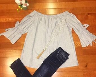 Cotton Pinstripe Woven Elastic Off Shoulder Blouse