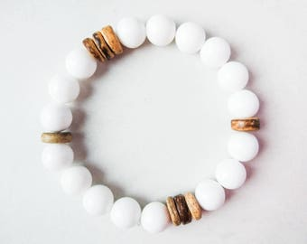 Mens Wood Bracelet Chocolate Bracelet Coconut Bracelet White Brown Bracelet Boyfriend Bracelet Jade Beads Bracelet Gay Bracelet Surfer Gift