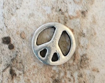 4 Pewter Peace Sign Beads