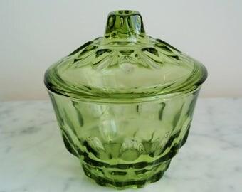Vintage Green Glass Canister Jar