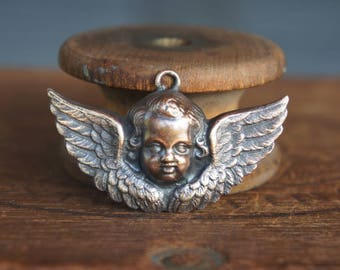 Vintage French Brass Stamping/Antique Style/Cherub/Putti/Angel/Winged Angel/French Findings