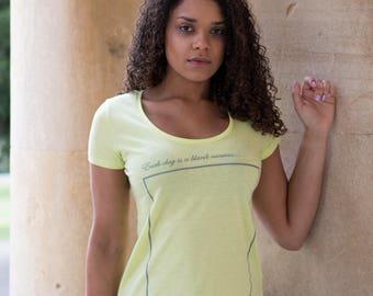 INSPIRATIONAL BLANK CANVAS Slogan Organic Cotton Eco-Friendly Yellow T-Shirt