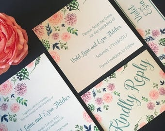 Flora Wedding Invitation with matching RSVP - SAMPLE