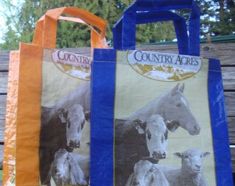 Recycled Feed Bag Tote, reusable tote bag, grocery tote, recycled shopping bag, reusable grocery bag, recycled tote bag, livestock