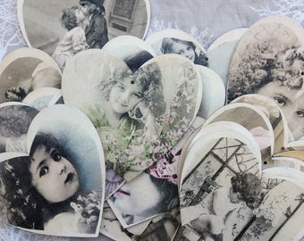 Set of 21 - Antique style wooden heart ornaments, black and white with vintage photographs of children.