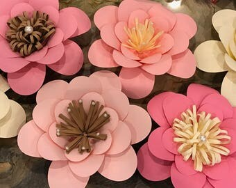 Pinks, Cream, and Brown Paper Flowers