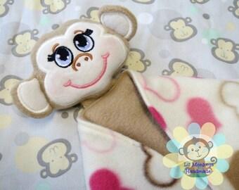 Girl Monkey Sensory Security Blanket Lovey/Small Size
