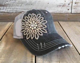 Bling Flower Baseball Cap, Unstructured Baseball Cap, Distress Baseball Cap, Rhinestone Hat, Distress Hat