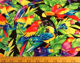 Tropical birds cotton fabric by the yard