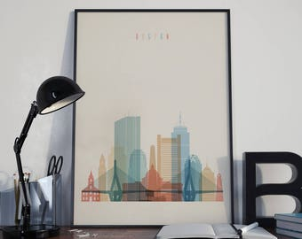 Boston Wall Art boston skyline | etsy