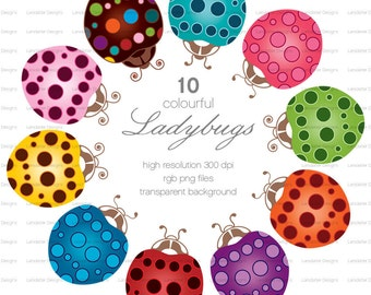 Colourful Ladybugs ~ e ~ clip art instant download