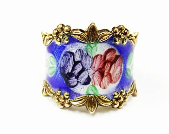 Beautiful Sterling Silver Flower Enameled Ring