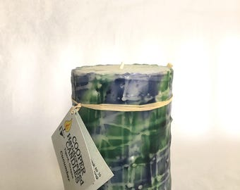 """4"""" Tall Cucumber Scented Round Pillar Candle - Green, Purple, White"""