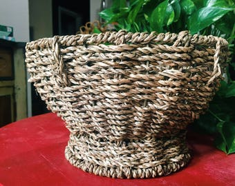 Vintage Woven Pedestal Basket Bowl, Bohemain Planter, Fruit Bowl