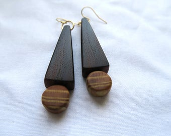 Wooden earrings made in Hawaii from locally reclaimed materials