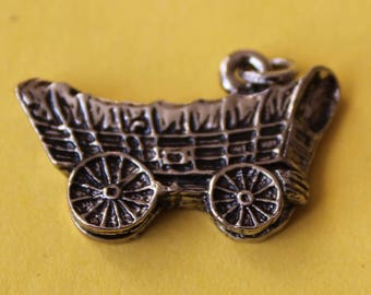 Vintage Sterling Silver Covered Wagon Little House on the Prairie Charm Oregon Trail Pioneer