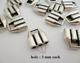 3 mm Triple Leather Cord End Cap/ ENDS/ Silver, Bronze or Old Gold Triple Ends of 3 mm pack 16 pcs