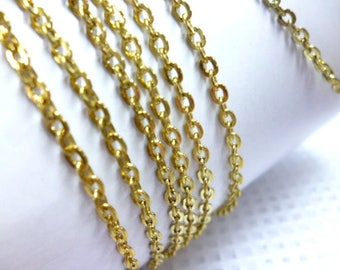 """Old Gold Fine Chain With laser treatment / Chains / Sale per meter of 2 mm/07"""" pack 1 meter 3/28 ft"""