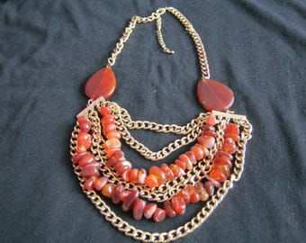 necklase with red agate 22 in to 25 in