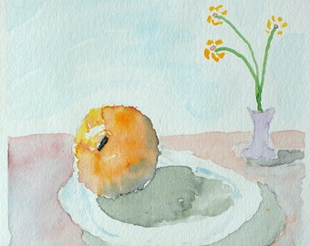"""Orange 2 - Watercolor Painting 6x6"""" Canson paper"""