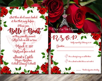 Beauty and the Beast Inspired Red Rose Floral Wedding Invitation Set