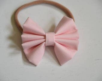 Nylon headband- light pink bow