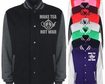 Make Tea Not War Varsity Jacket