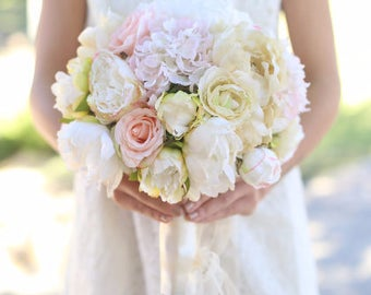 Silk Bride Bouquet Cream and Pale Pink Roses and Peonies Wildflowers Natural Bouquet Shabby Chic Vintage Inspired Rustic Wedding Keepsake