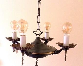 "Antique Victorian 4 Light Bare Bulb c1920 ""Pan"" Light/Chandelier Light/Pressed Metal/Pendant Light/Victorian Light/Edison Bulbs/MAKE OFFER"