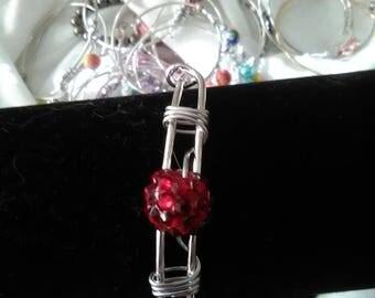 red beaded adjustable bangle bracelet