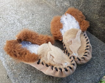 Kangaroo Moccasins Kid Child Toddler Australiana Cute Kitchy Leather Shoes Slippers