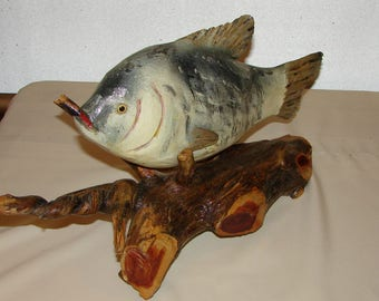 24 Inches long Chainsawed & Carved Wood Fish Arrangement