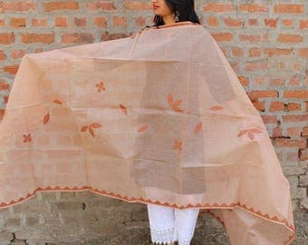 Light brown Creeper applique  with running stitch dupatta
