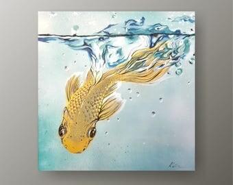 "Painting Splash 24"" Original acrylic painting on canvas, Clean Modern looks, Beautiful refreshing colors, Express shipping, Katka Kudashik"