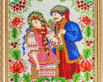 Bead-embroidered picture In Love Ukrainian traditional style gift present décor