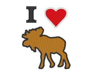 I love moose Embroidery file Digital embroidery files Machine embroidery