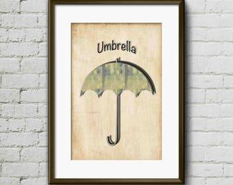 Umbrella I - Digital Art, Print Art, Wall Art, Print Art, Minimalist Art