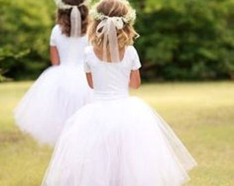 Girls White or Ivory Flowergirl Tutu Skirt for Wedding, Bridal Event, Holiday, Photo Shoot, Birthday Party All Sizes Available USA Seller