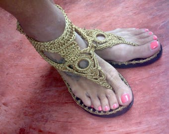 crochet sandals thong with rubber sole
